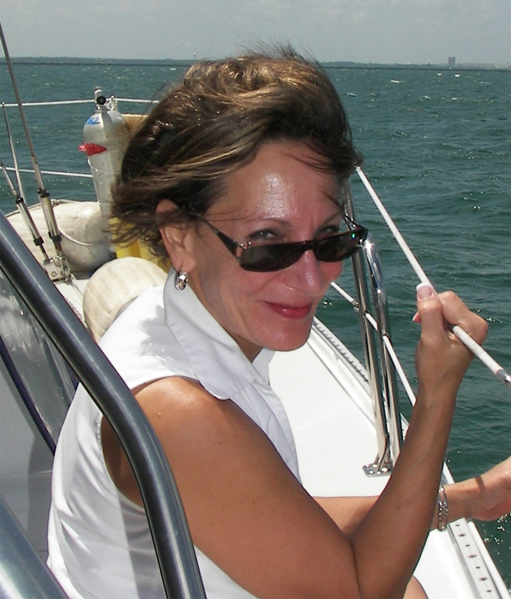 Sue, during a happier boating experience.