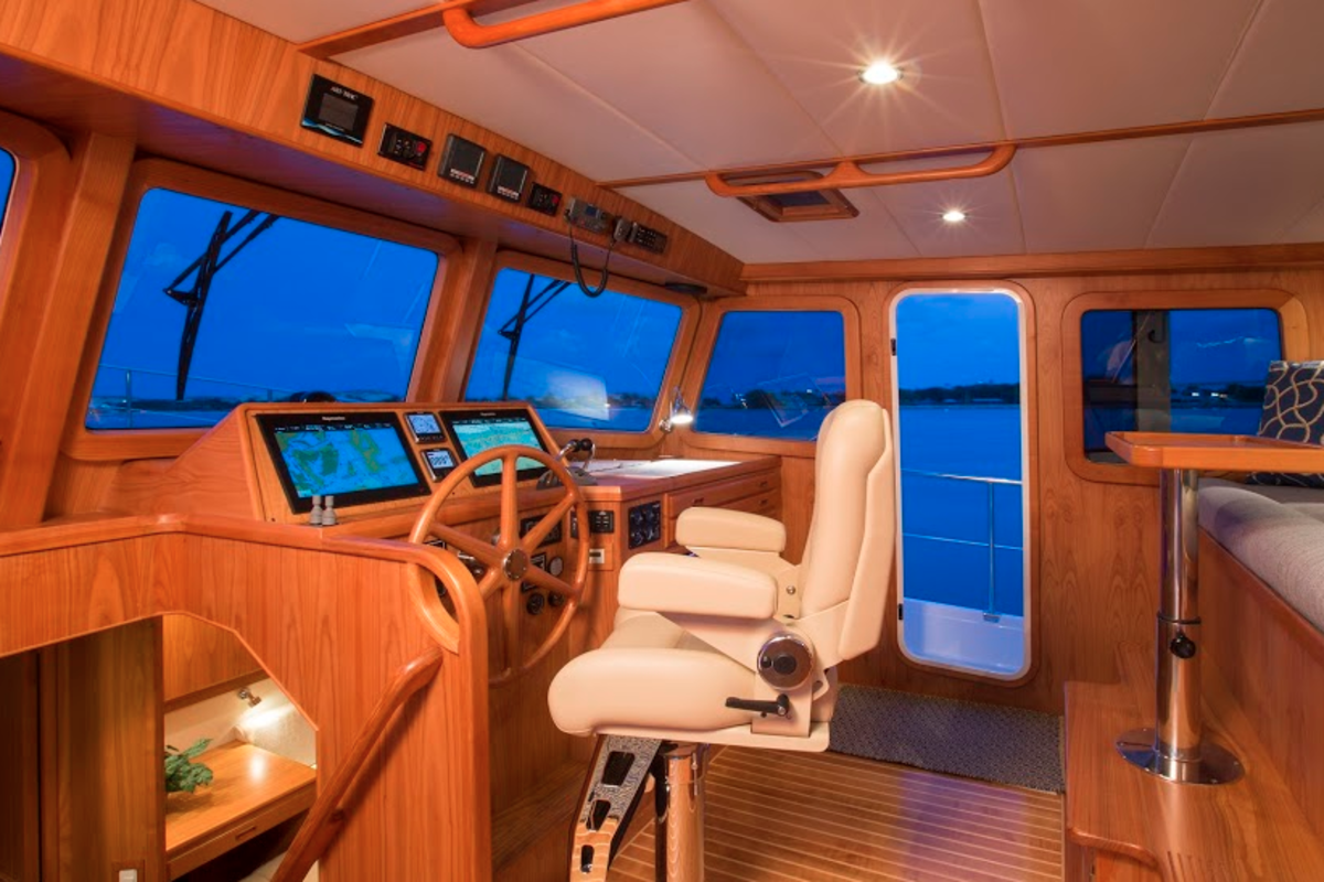 The Krogen Express 52 has a spacious bridge deck with excellent sightlines.