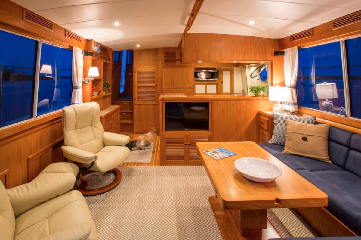 The saloon and galley area is roomy and comfortable.