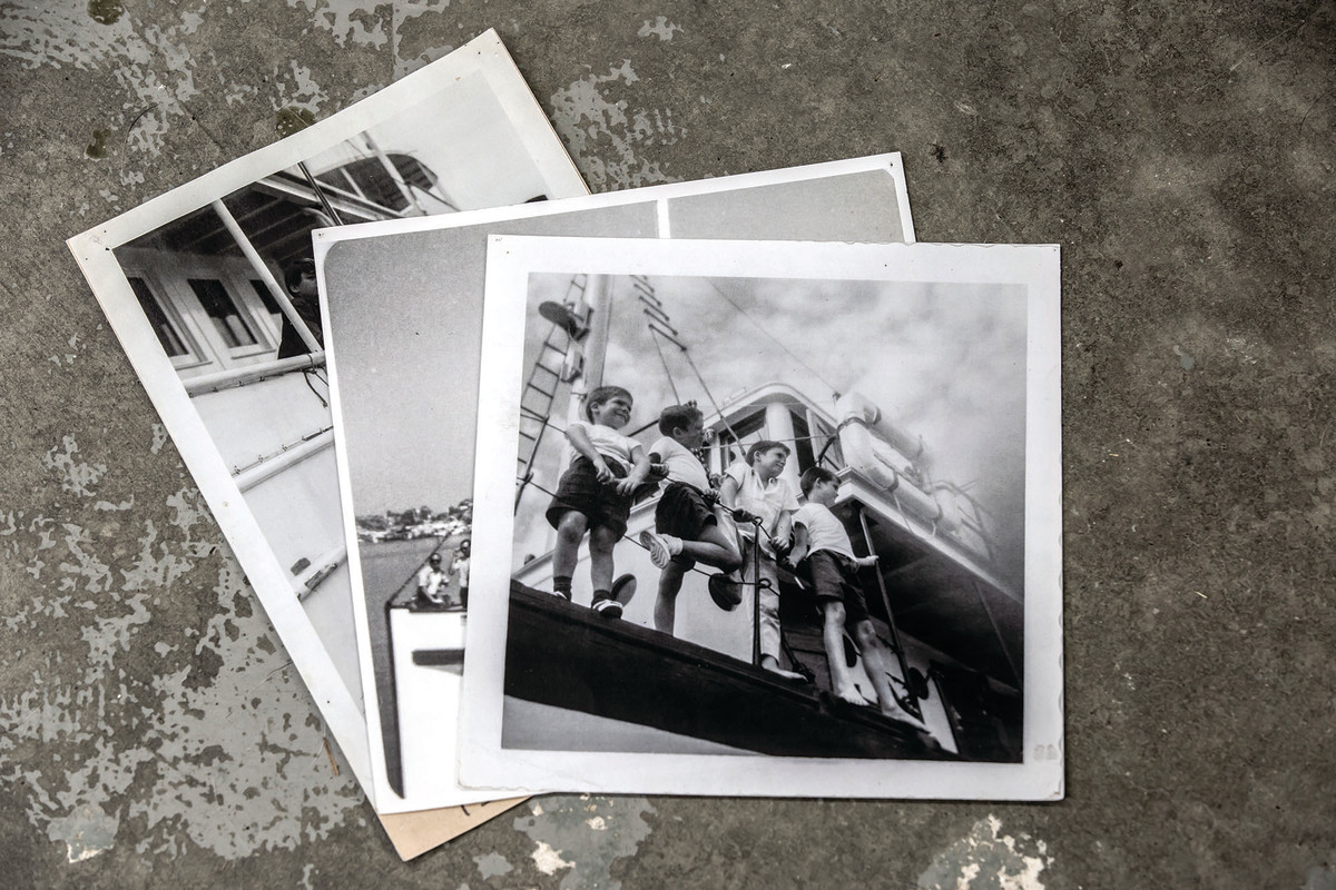 A collection of family snapshots show Pete and some of his gang of brothers aboard Catalyst.
