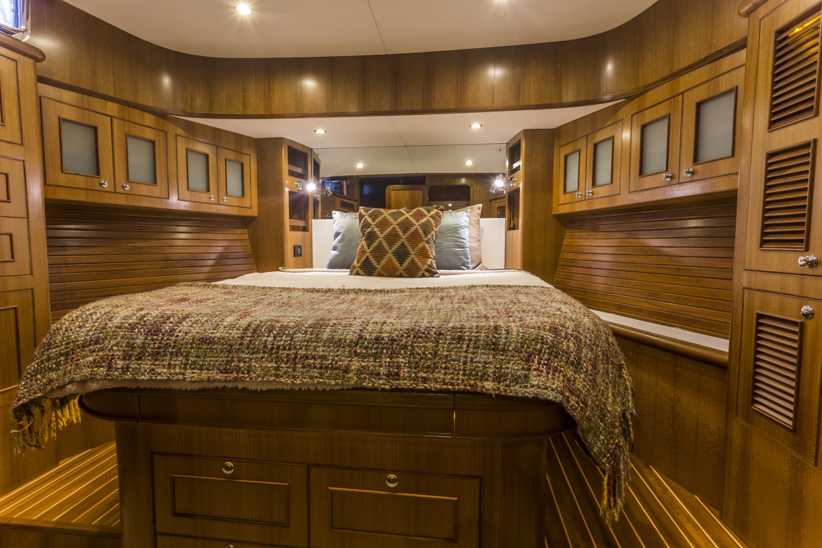 The abundance of teak adds a glowing warmth to the master stateroom.