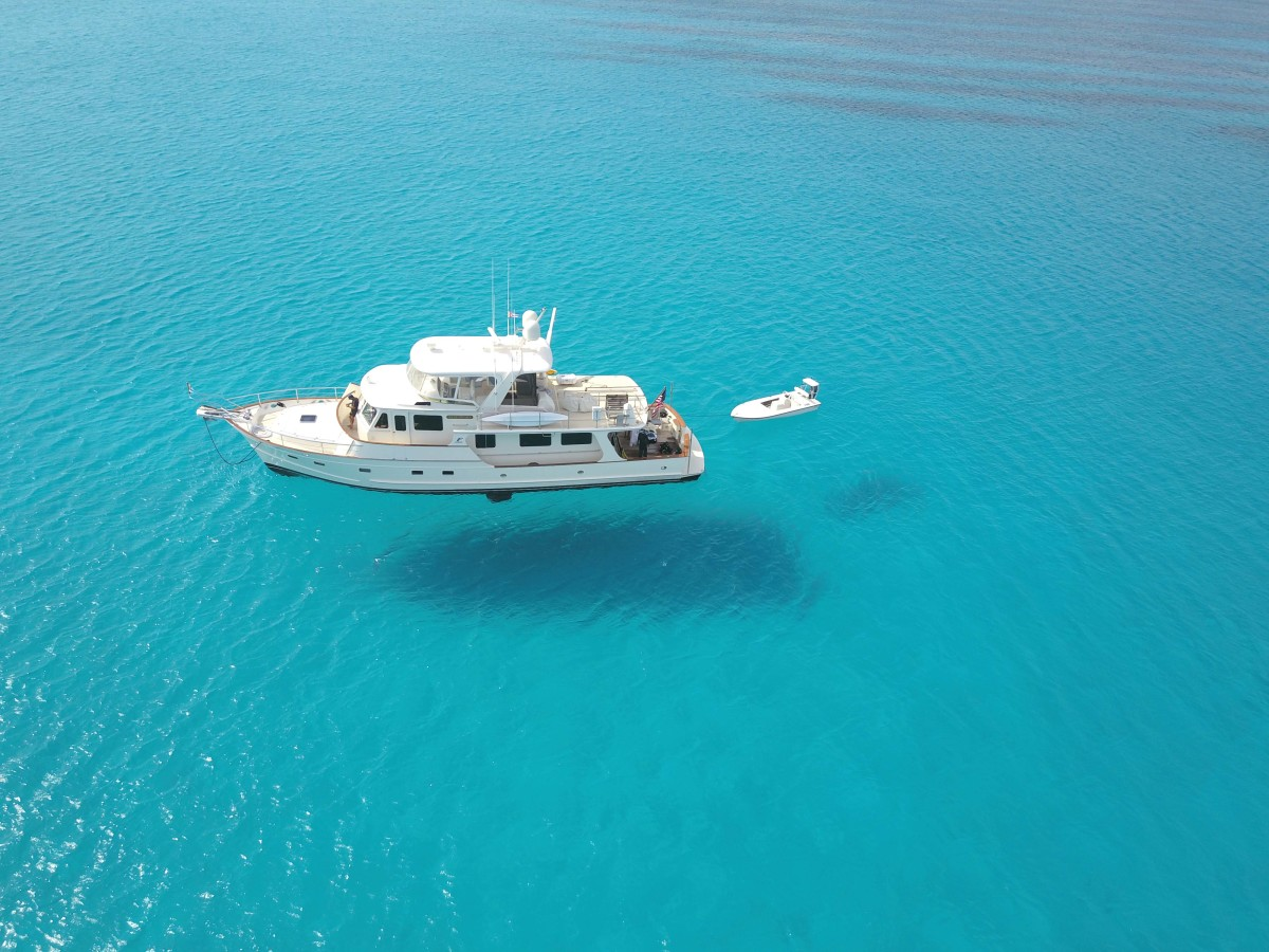 Crystal clear water at our anchorage at Cabo Frances, Cuba.
