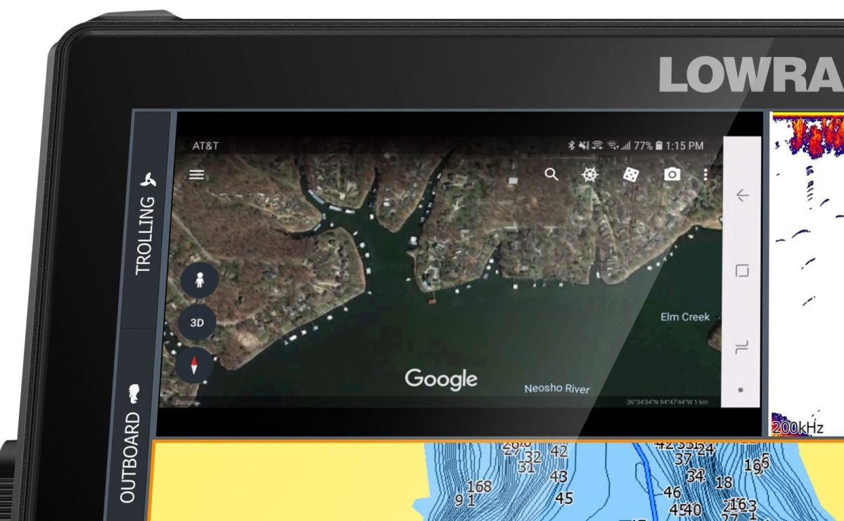 Lowrance LiveCast uses HDMI to put phone screen on bright HDS Live MFDs.
