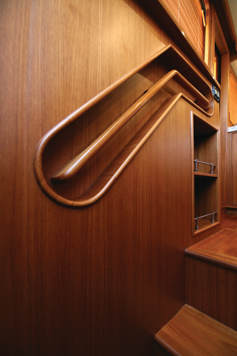 Fine woodworking detail is common aboard all Marlow yachts.