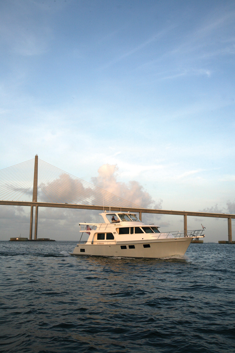 The Marlow 49 Explorer poised in front of the Tampa Bay Bridge in Tampa, Florida.
