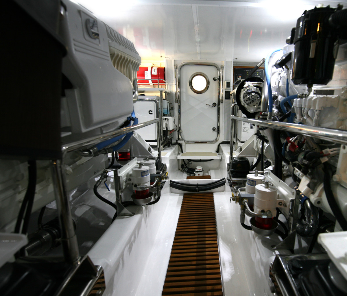 A view of the engine room that features twin Cummins QSM11, 715-horsepower engines.