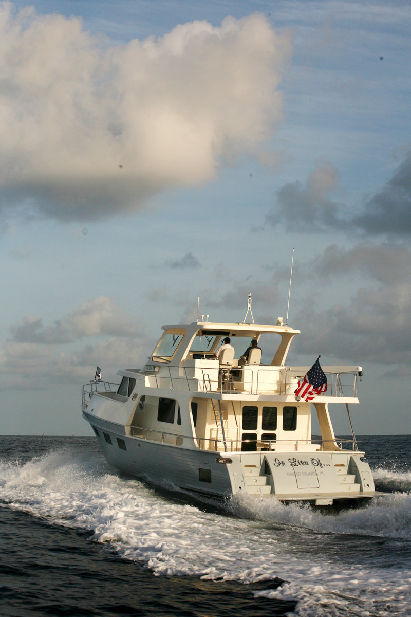 The Marlow 49 Explorer yacht from astern.