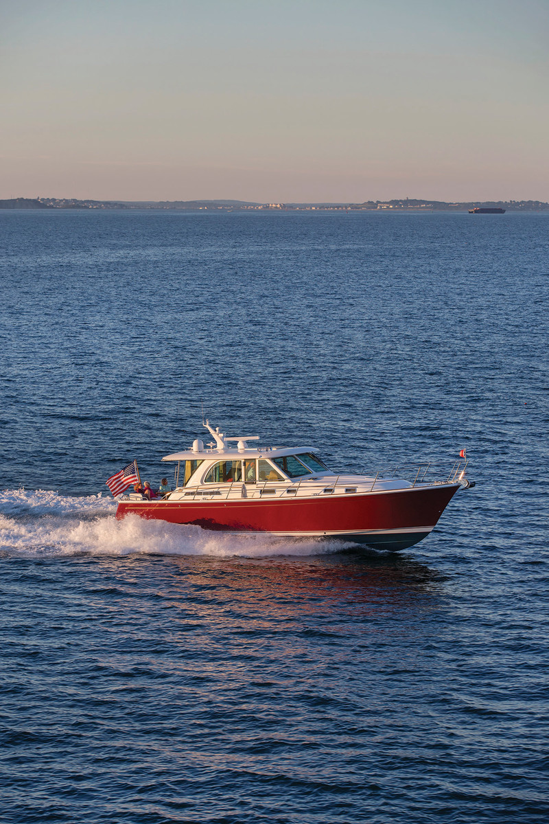 True to her Maine roots, the Sabre 45 Salon Express features classic Downeast lines.