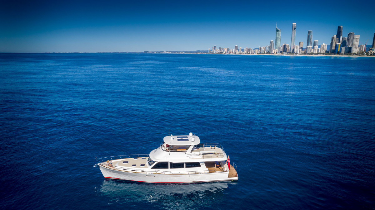 The new Grand Banks 60 in Sydney Harbor.