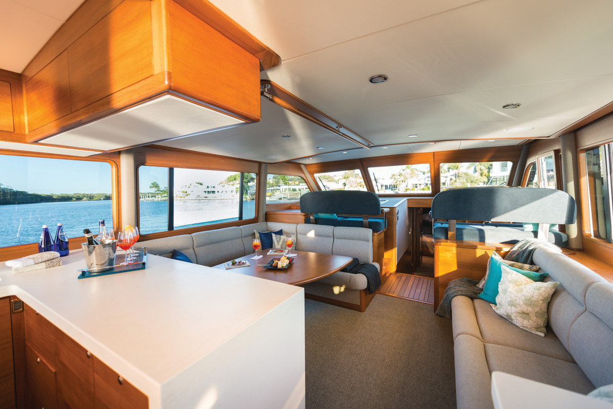 While the new Grand Banks 60' has a contemporary design, her Burmese teak joinery is on par with classic Grand Banks interiors and workmanship.