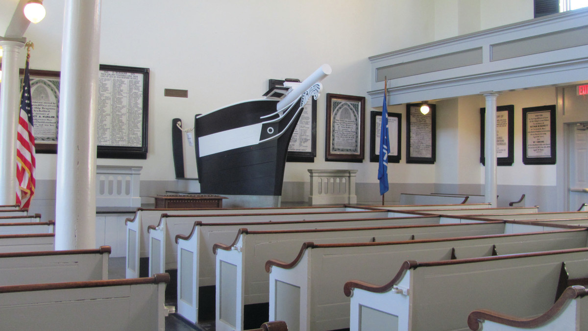 The Seamen's Bethel (the 'Whaleman's Chapel' from Moby-Dick) memorializes sailors lost at sea.