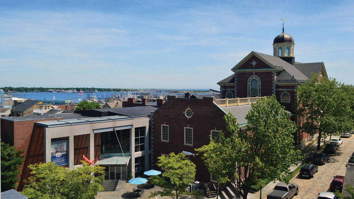 The face of the renovated New Bedford Whaling Museum juxtaposes the contemporary with the traditional.