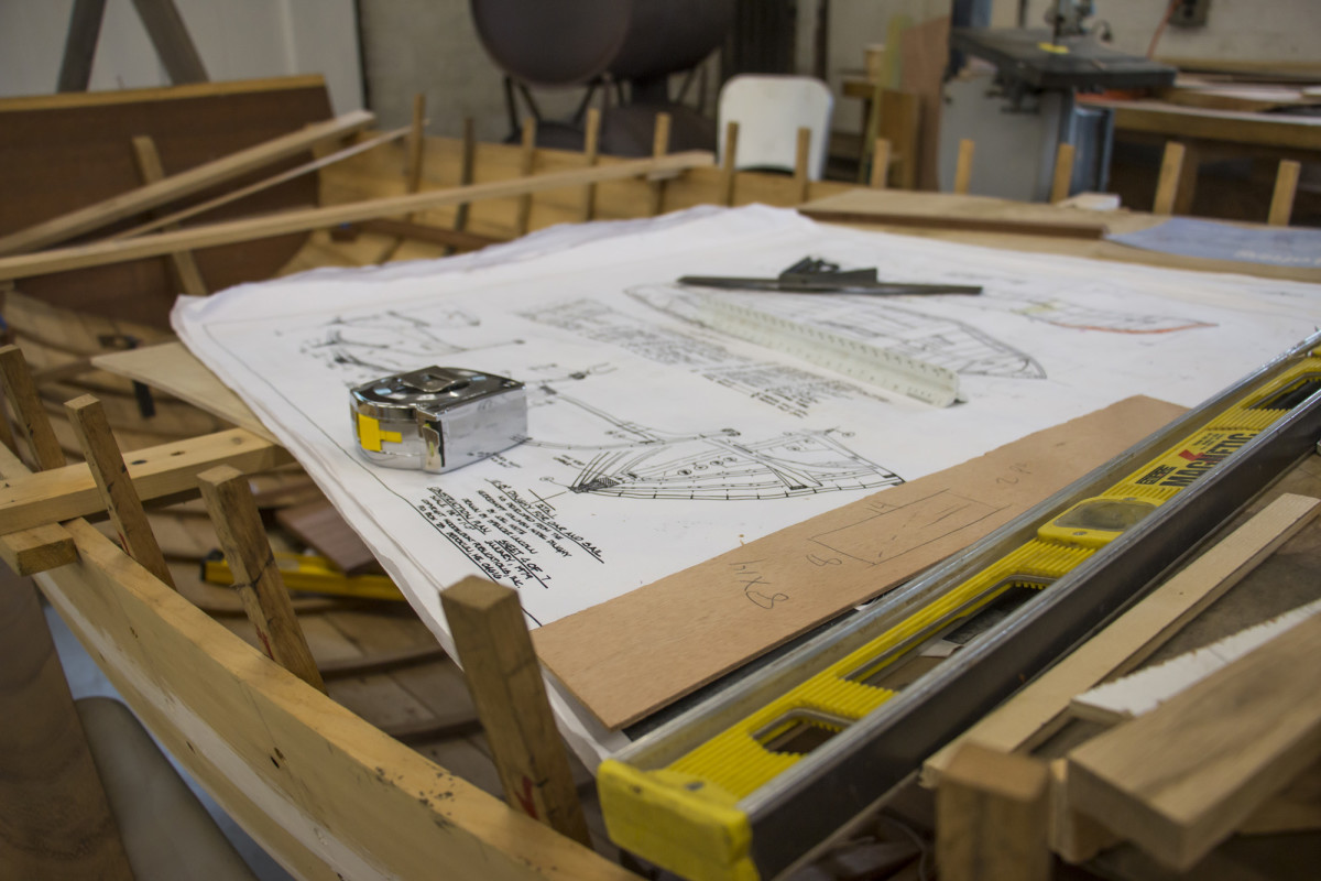 In the Fundamentals of Boat Building classroom students build off drafting plans.