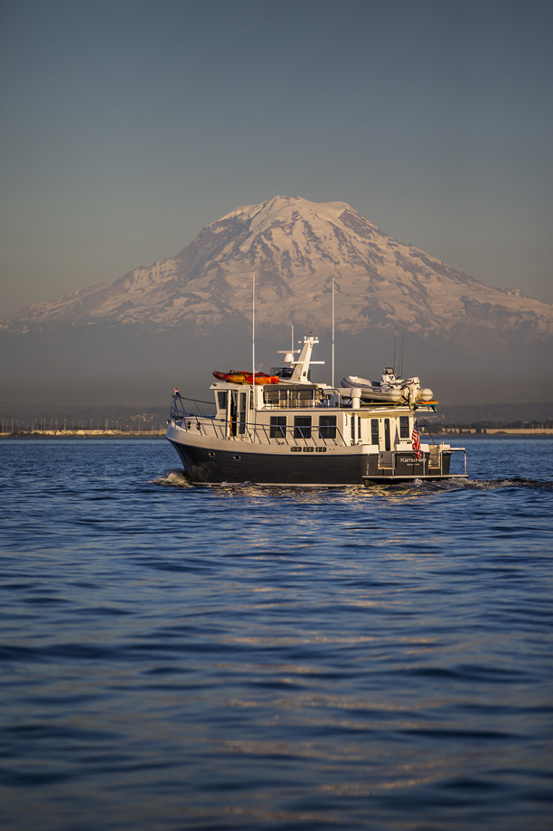 Kama Hele in South Puget Sound with Mount Rainier