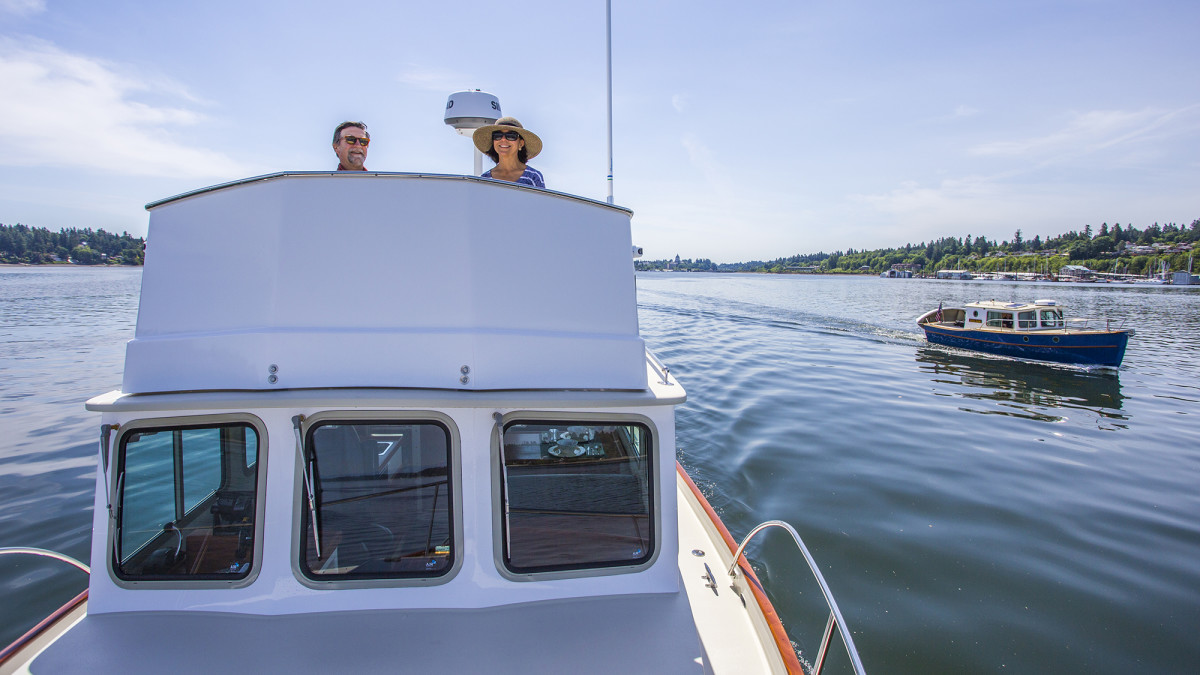 Sam Devlin and his wife on a sea trial of the Kingfisher 33.