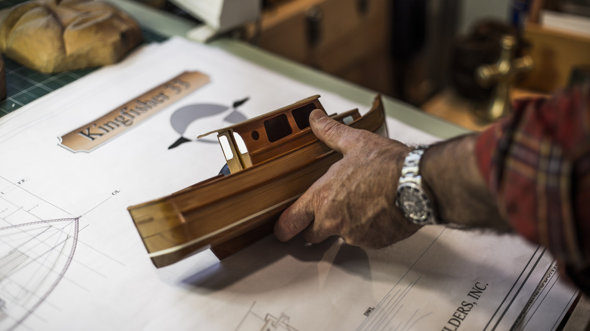 The Kingfisher scale model helped guide changes on the real boat, such as the bulwark height.