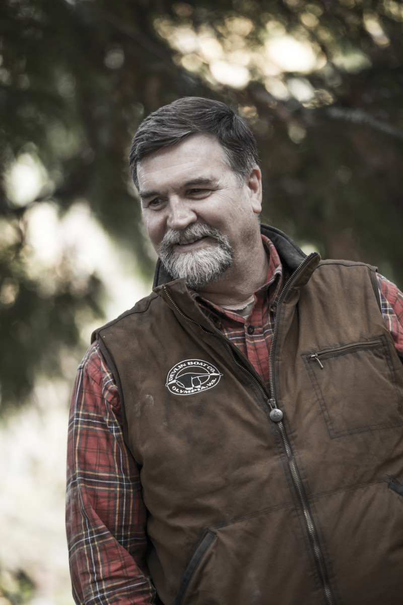 Portrait of Sam Devlin, owner and founder of Devlin Designing Boat Builders in Olympia, Washington.