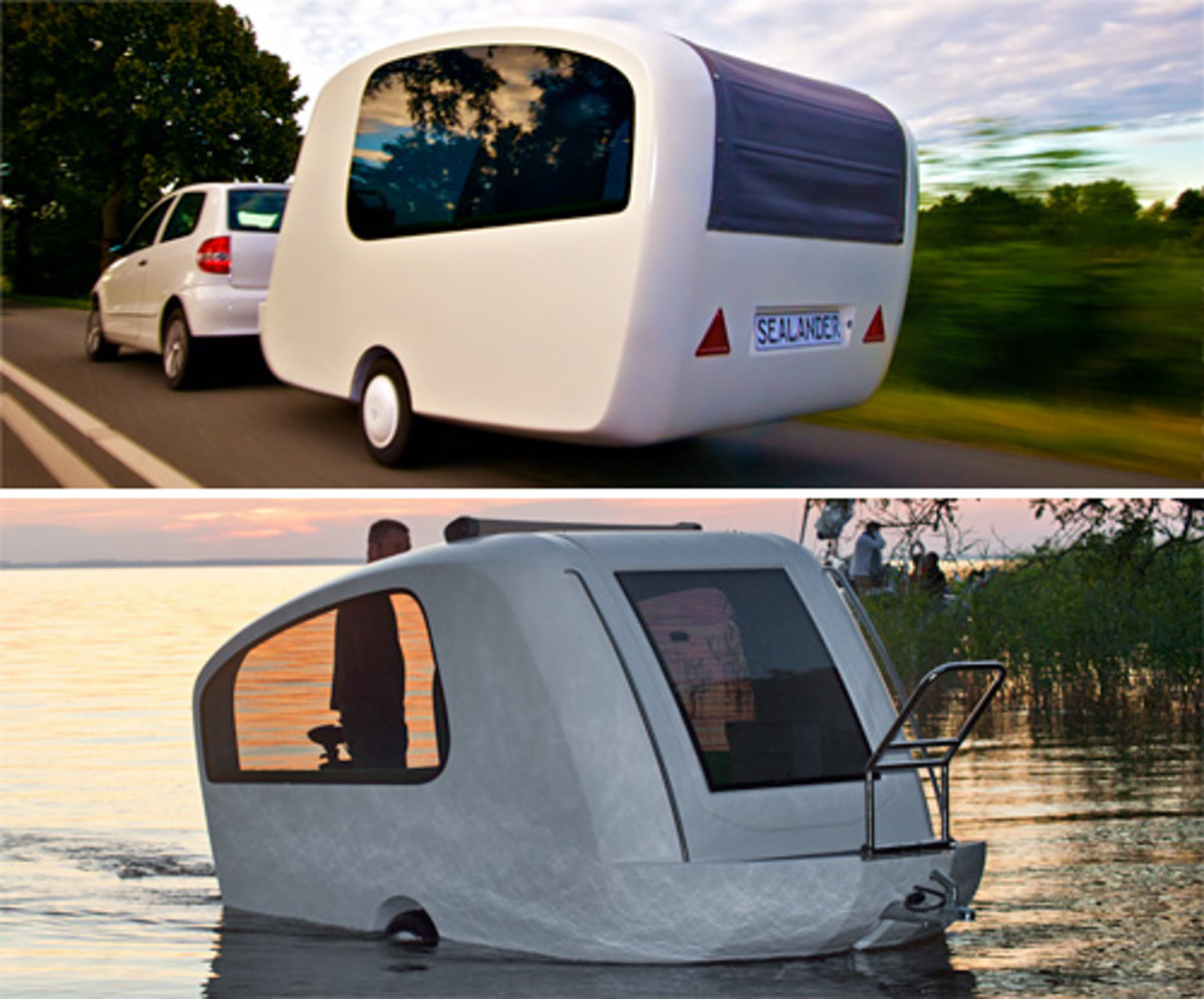 Here's one magazine's review: The Sealander is a unique combination of trailer and amphibious vehicle. It is a caravan and yacht in one. High quality and aesthetics of boat-building are combined with the flexibility of a mobile home. It is dynamic and modern. The Sealander is an innovative lightweight mobile vehicle that is primarily a custom-made caravan but, with the help of a few handles and an outboard engine (any 5 PS long-shaft outboard engine will do) it turns into an amphibious vehicle. The best part is you don't need any special license to operate the Sealander. Just slide it into the water and go fishing, swimming or whatever your heart desires. There are several features that will make your sailing even more enjoyable – a convertible sunroof, a telescopic element that can be used as a swim ladder, and a stainless steel handrail to ensure safe boarding.