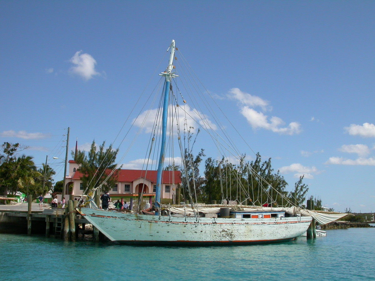Albert Pierre's sloop, under arrest at Staniel Cay.