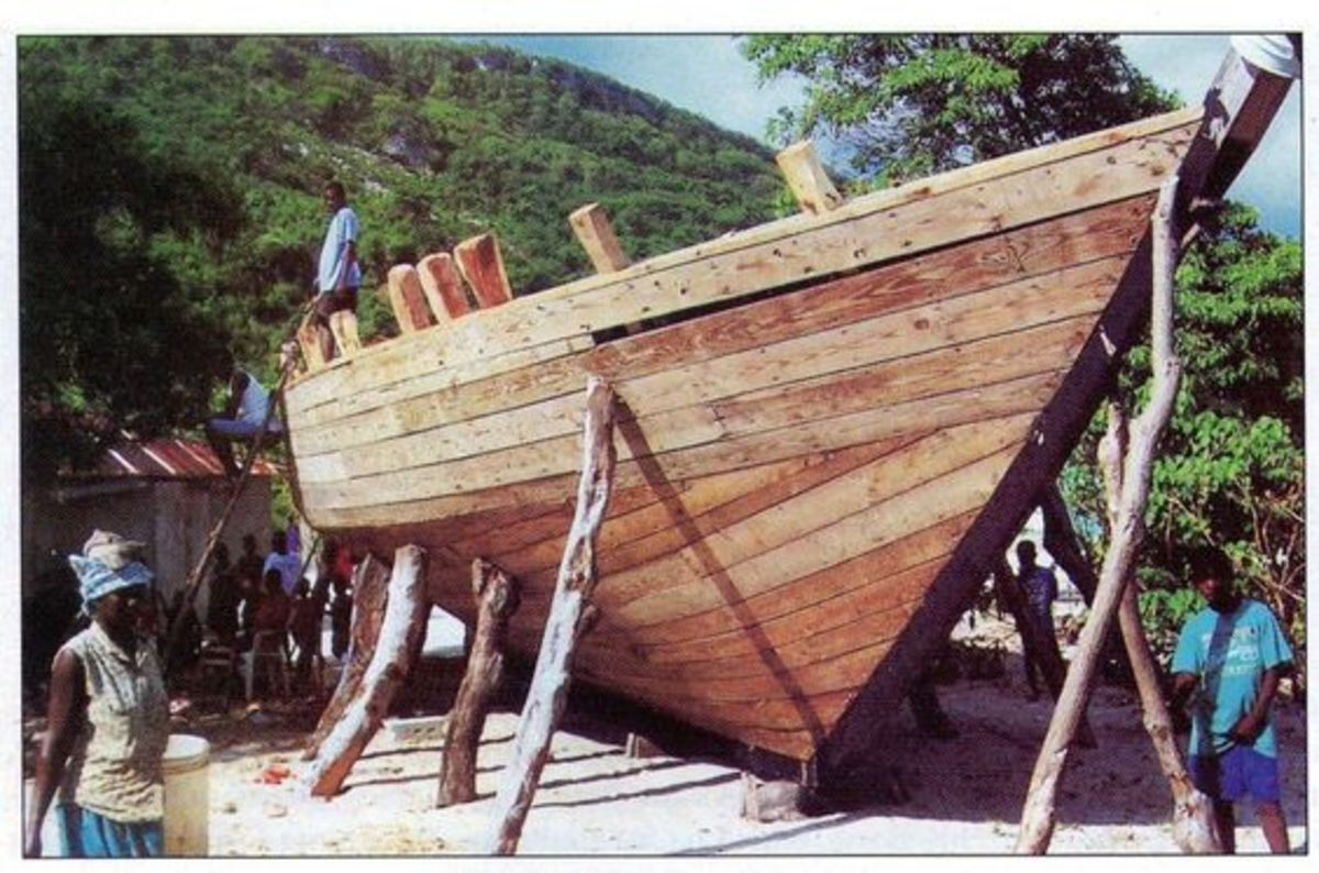 The boats are built on Haiti's beaches by eye.