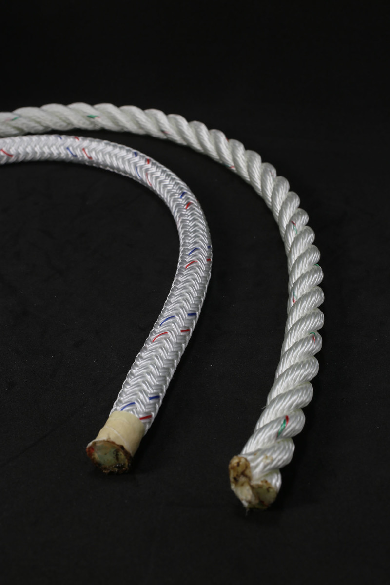 Two kinds of nylon rope: braided on the left, 3-strand on the right.