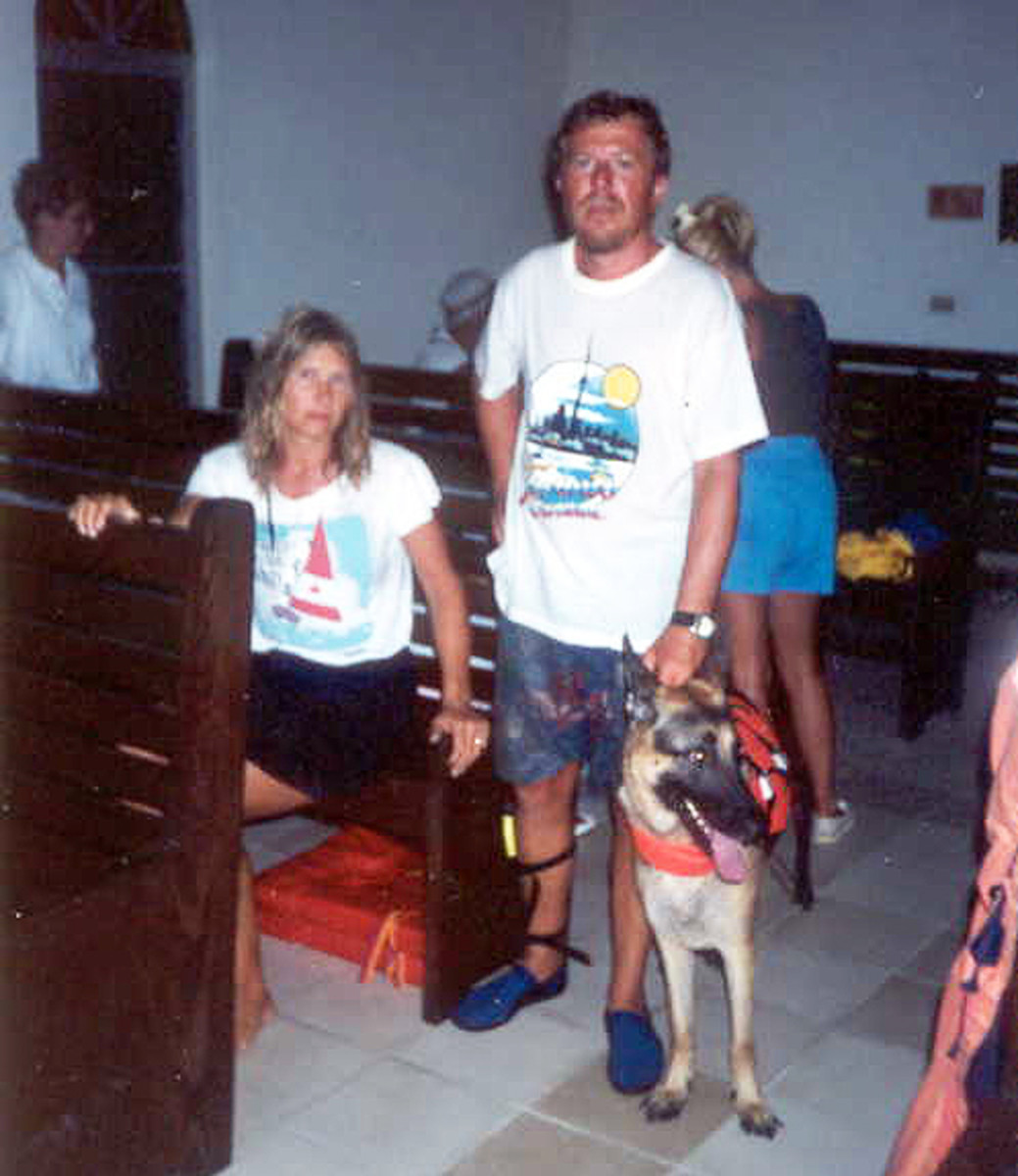 The author with wife Wendy and Ku the dog with others inside the chapel.