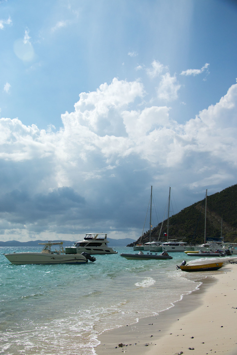 The bay was quite busy with boats, several charter boats, some day charters, and the dinghies from those visiting from Great Harbour lined both the beach and the anchorage.