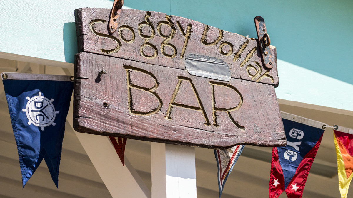 The original Soggy Dollar Bar sign (or at least most of it) was found hundreds of yards down the beach buried in the sand and debris after Irma.