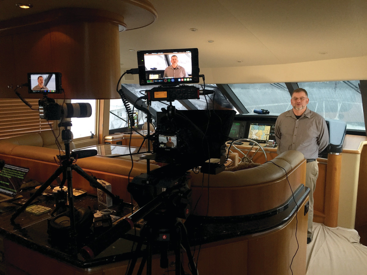 Boaters University instructor, Robert Reeder, rehearses on camera for our newest course on the rules of navigation.