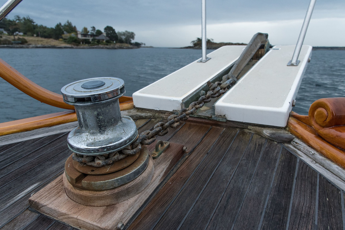 When the anchor is deployed, it will need a nylon snubber on the chain to absorb shock loads. The snubber should have a chafe-free lead back on board and should not rely on the windlass as its attachment point.