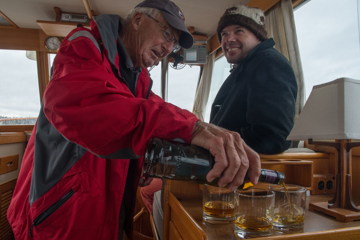 Some finish their anchoring routine with tea, some finish it with single malt. Either way take time to observe your anchorage in relation to other boats and to ensure you are not dragging.