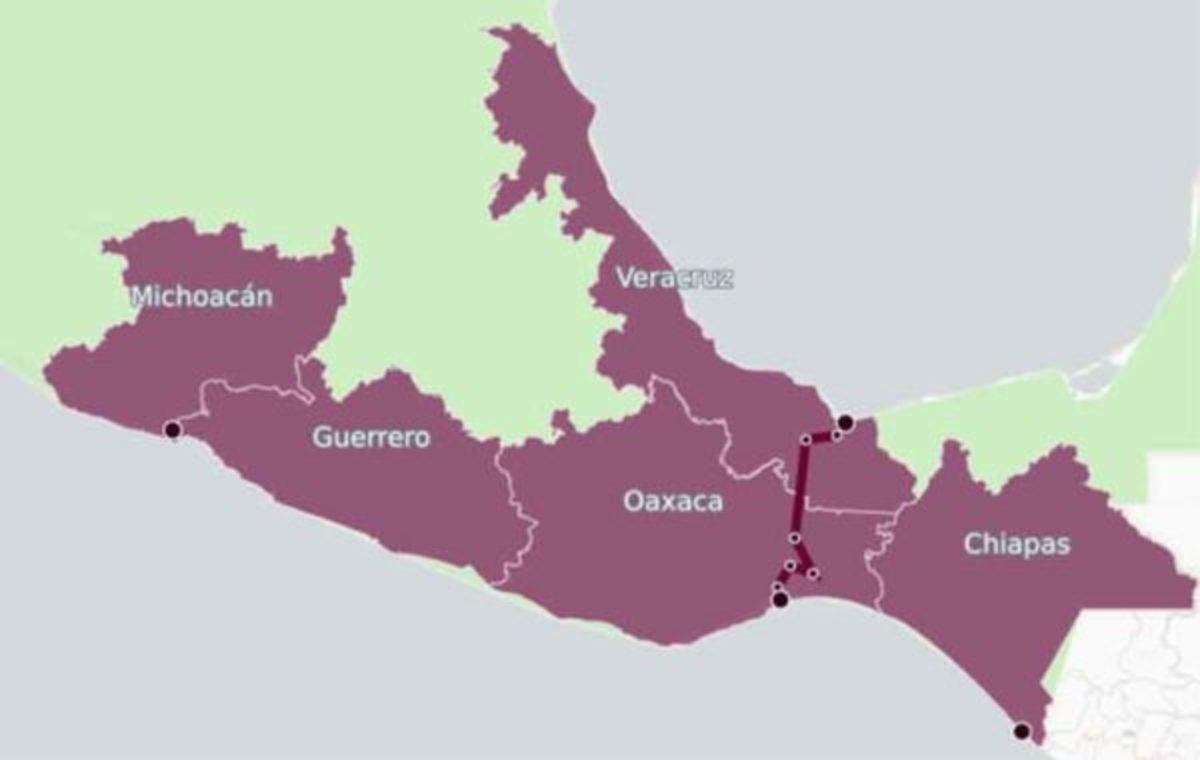 From Coatzacoalcos, Veracruz, on the Caribbean to Salina Cruz, Oaxaca, on the Gulf of Tehuantepec.