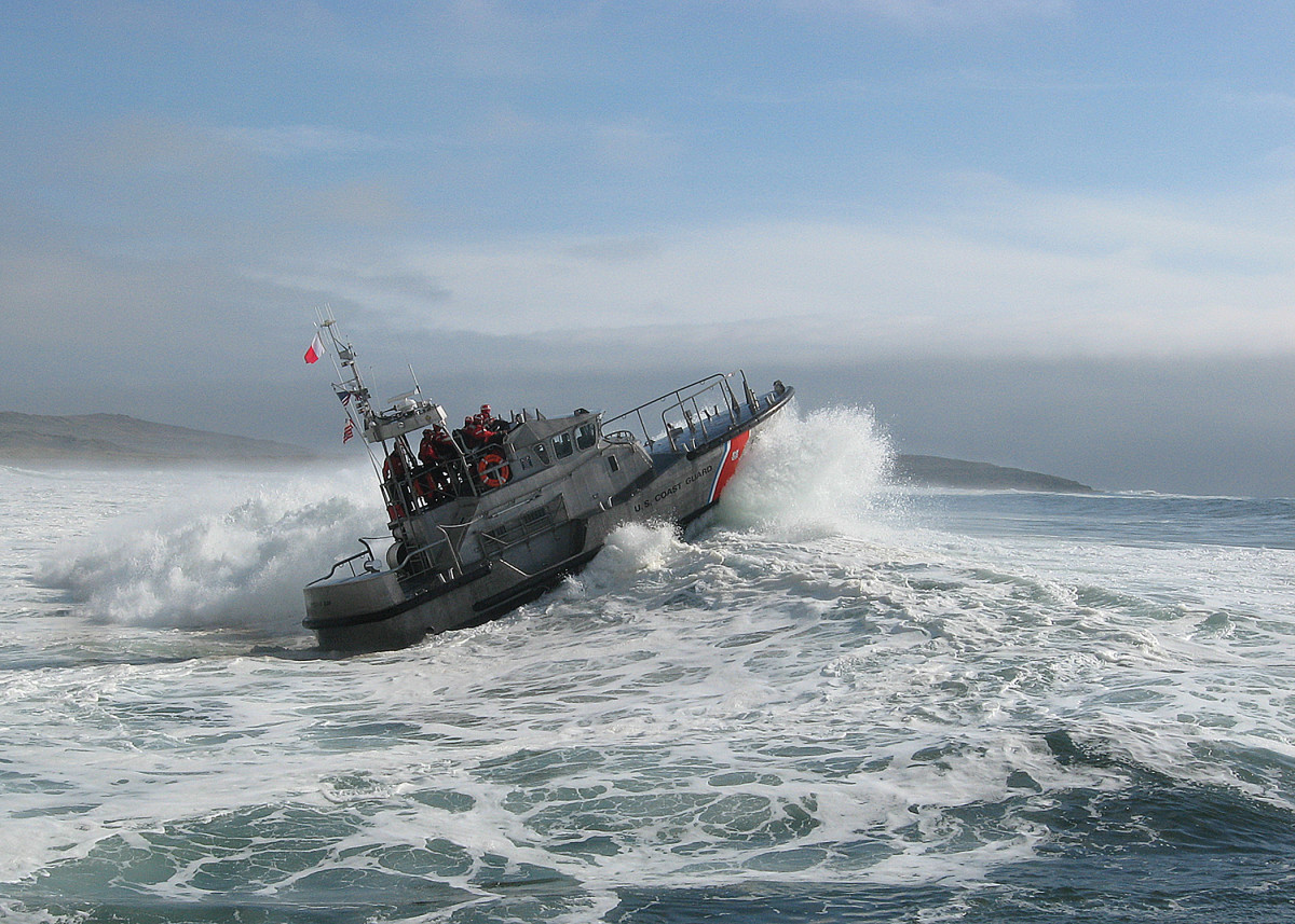 Coast Guard motor lifeboat crews from Station Bodega Bay conduct surf training with a 47-foot motor lifeboat Saturday, Sept. 12. Motor lifeboat crews took advantage of an early season swell that brought consistent 15-foot surf to the area.