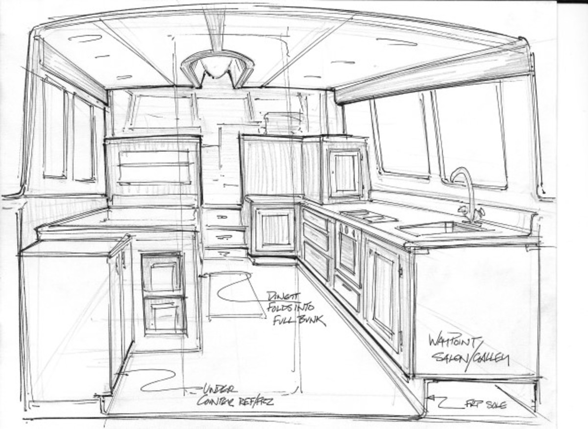 Saloon and pilothouse sketch for the Waypoint 36