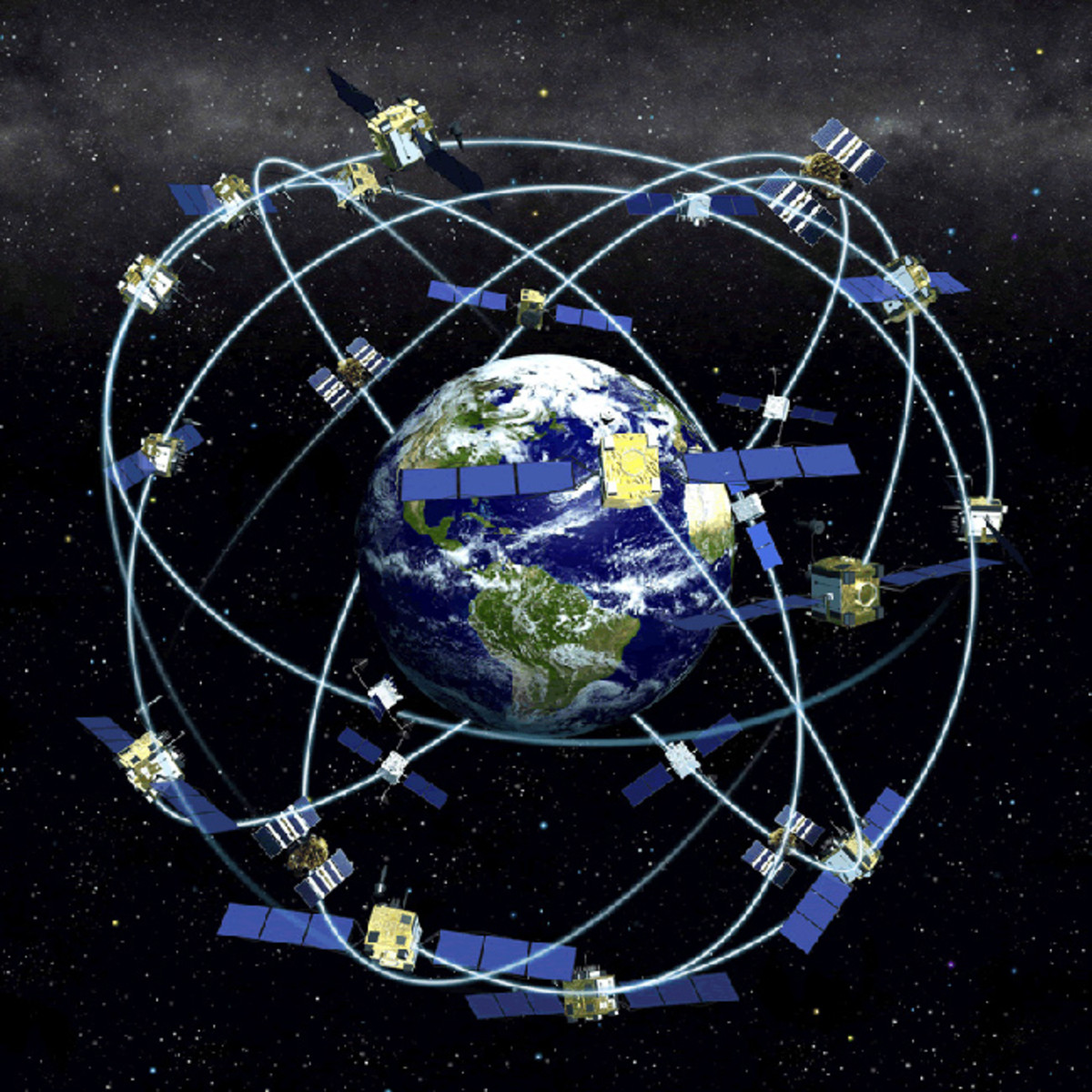 An illustration of how satellites orbit the earth , which allows for the precise positioning that Gladys West worked out.