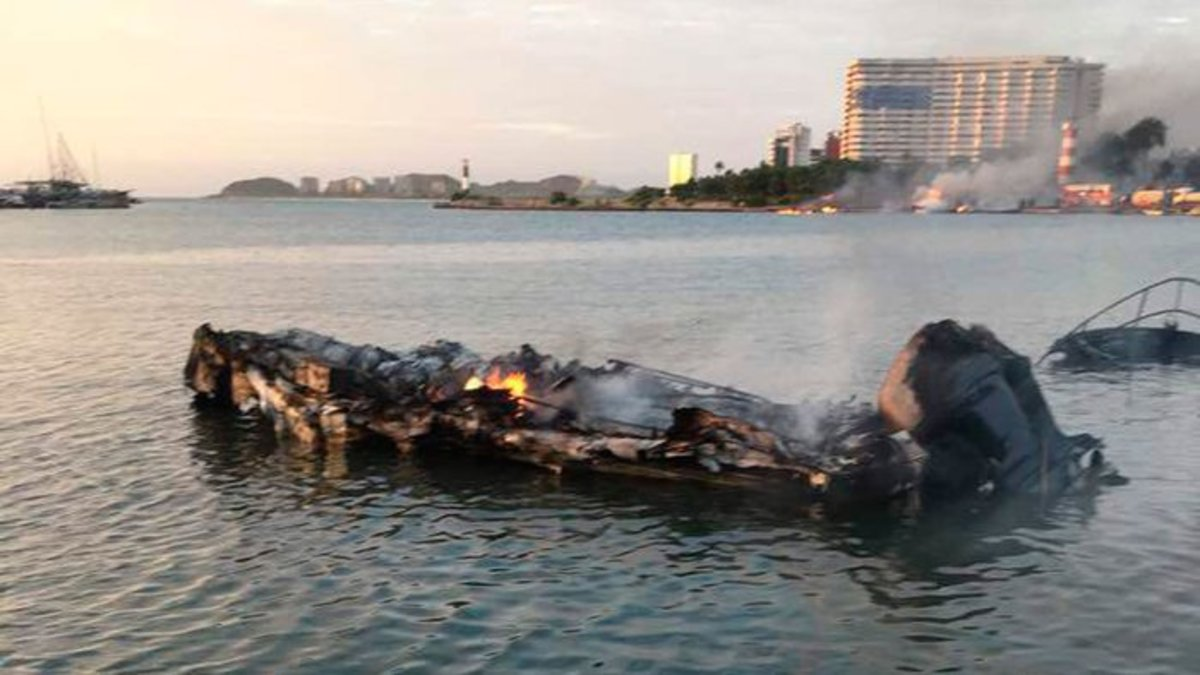 Twenty one boats were reported destroyed and sunk with about a dozen more damaged.