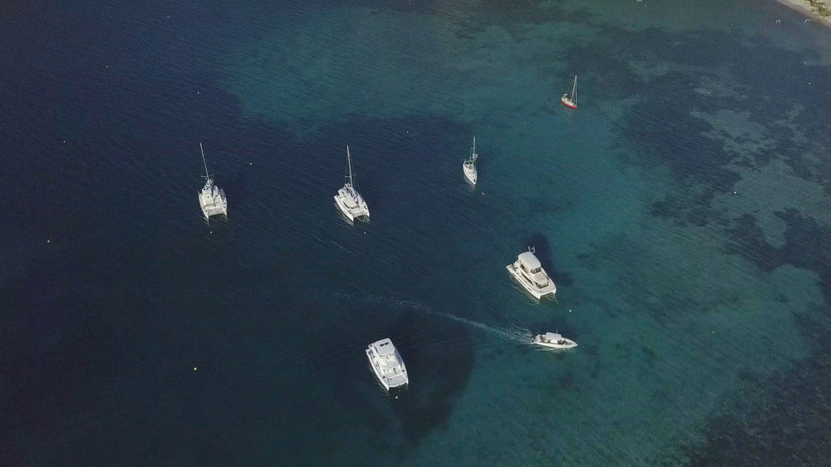 Our loose flotilla of three boats; a MarineMax powercat and a powercat and sailing catamaran from The Moorings. Our first stop was Great Harbour where we joined just a few others in the large mooring field.