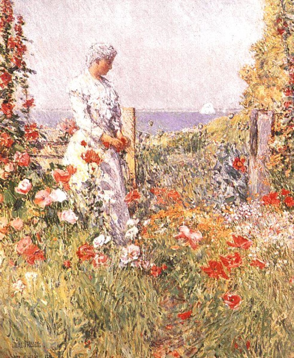 Childe Hassam's depiction of Celia Thaxter in her garden.