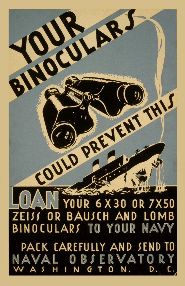 A WPA poster requesting binoculars for the US Navy.