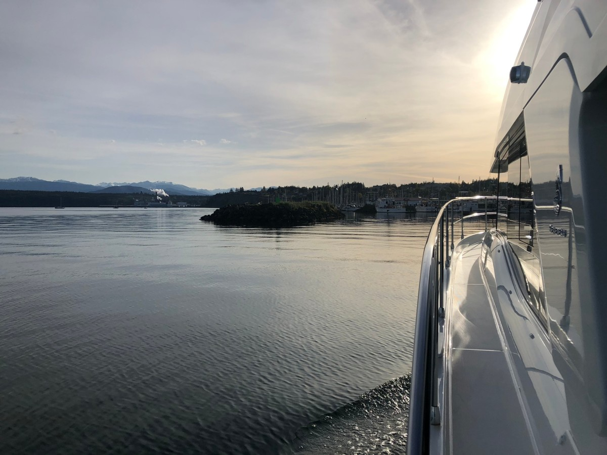 From the last protected port of the Salish Sea, the Swift Trawler 47 heads for the Straits that lead to the Pacific Ocean.