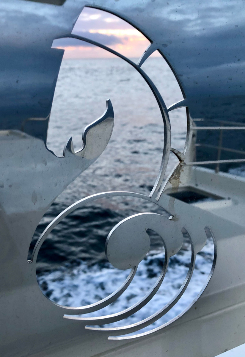 A reflection of the Pacific in the Beneteau logo.