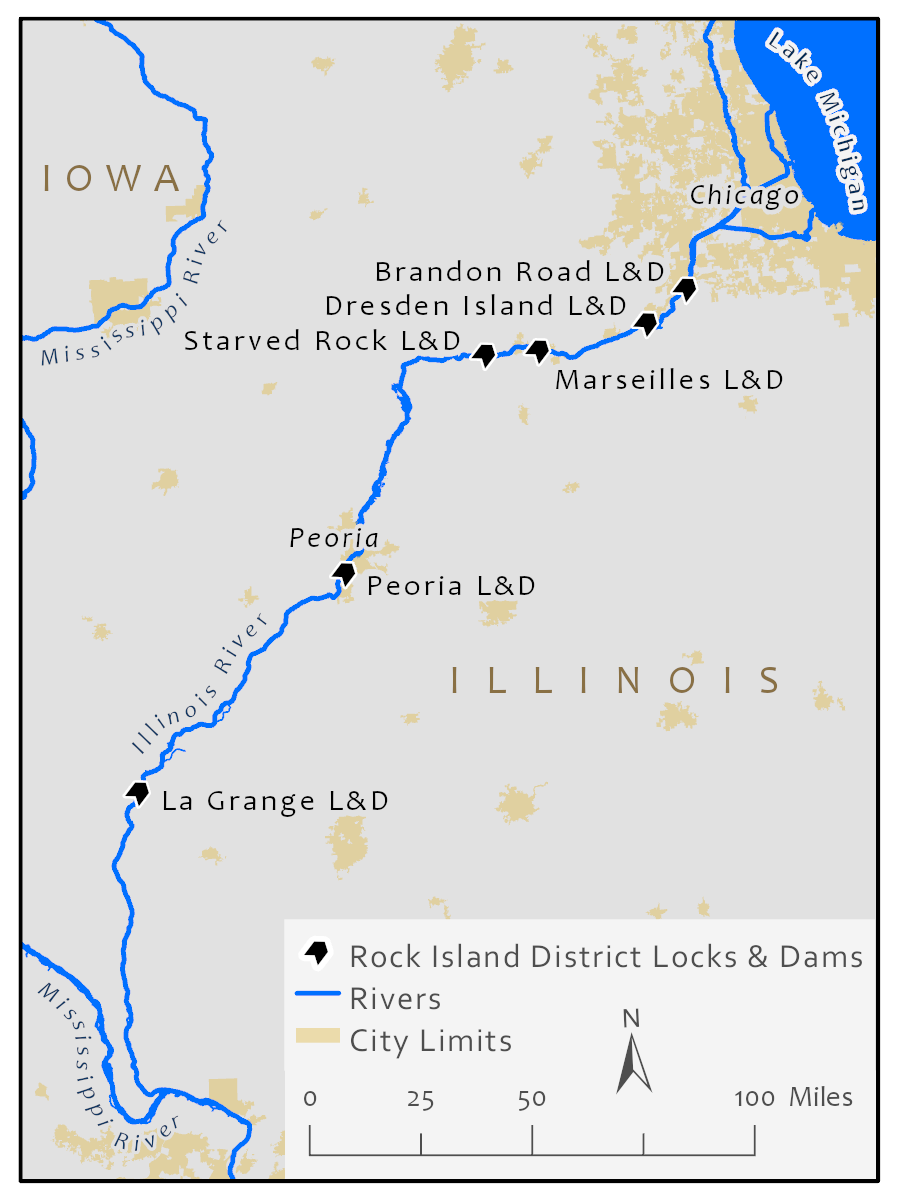 The Illinois River and its locks.