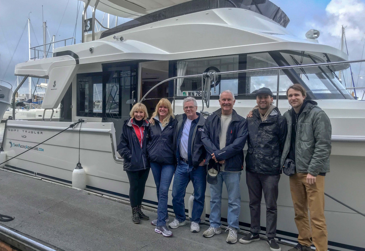 Captain Steve Larivee and his crew boarding the Swift Trawler 47 for the next leg of the Swift Pacific Adventure.