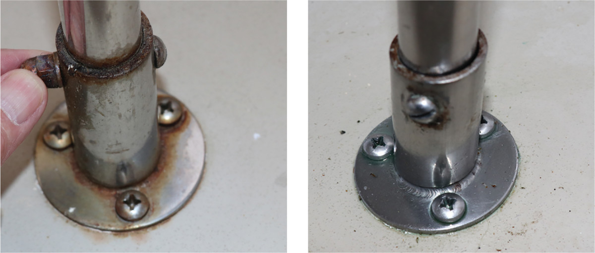 Simple steel screws are often the culprit of rust shown on the more robust 316-grade stainless.