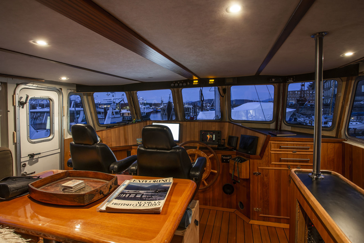 The owner takes great pride in his work and it shows. The cabinetry in the pilothouse and throughout the boat is not only well crafted but also informed by a deep understanding of necessary function.