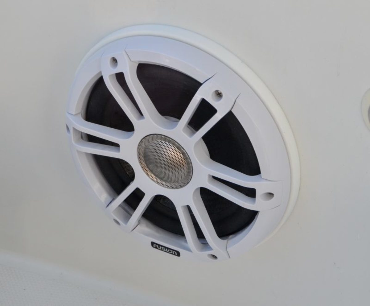 An SG-FL88SPW 8.8″ speaker with a starboard spacer ring to bring the speaker out far enough to avoid hitting the inside of the hull