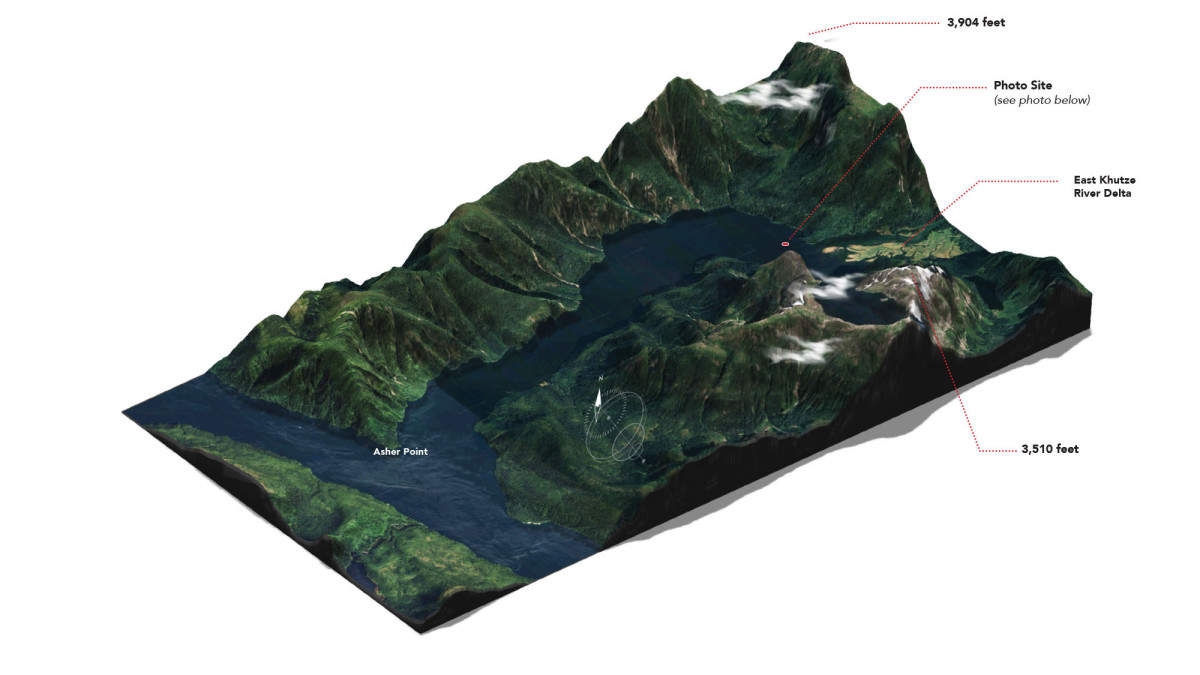 Khutze Inlet,  British Columbia, Canada.  Lat: 53.0959° N   Lon: 128.4821° W