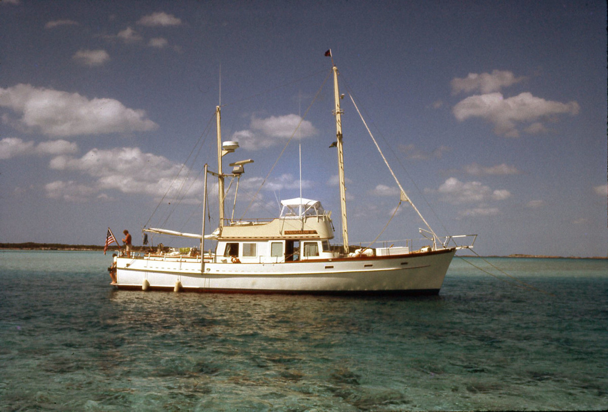 Navigator 2 rests at anchor in more favorable conditions in the Bahamas.