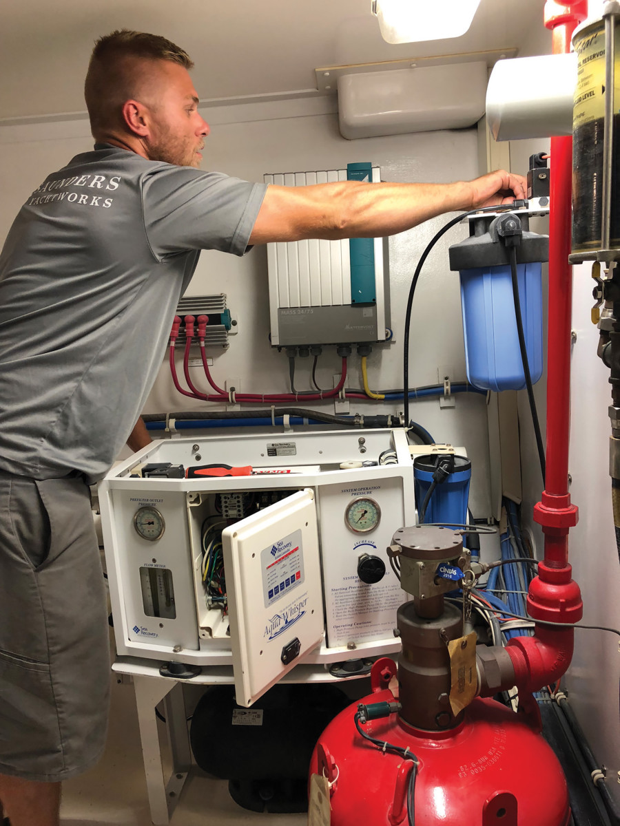 Watermaker maintenance chores include regular oil changes, filter replacements and salinity probe checks.