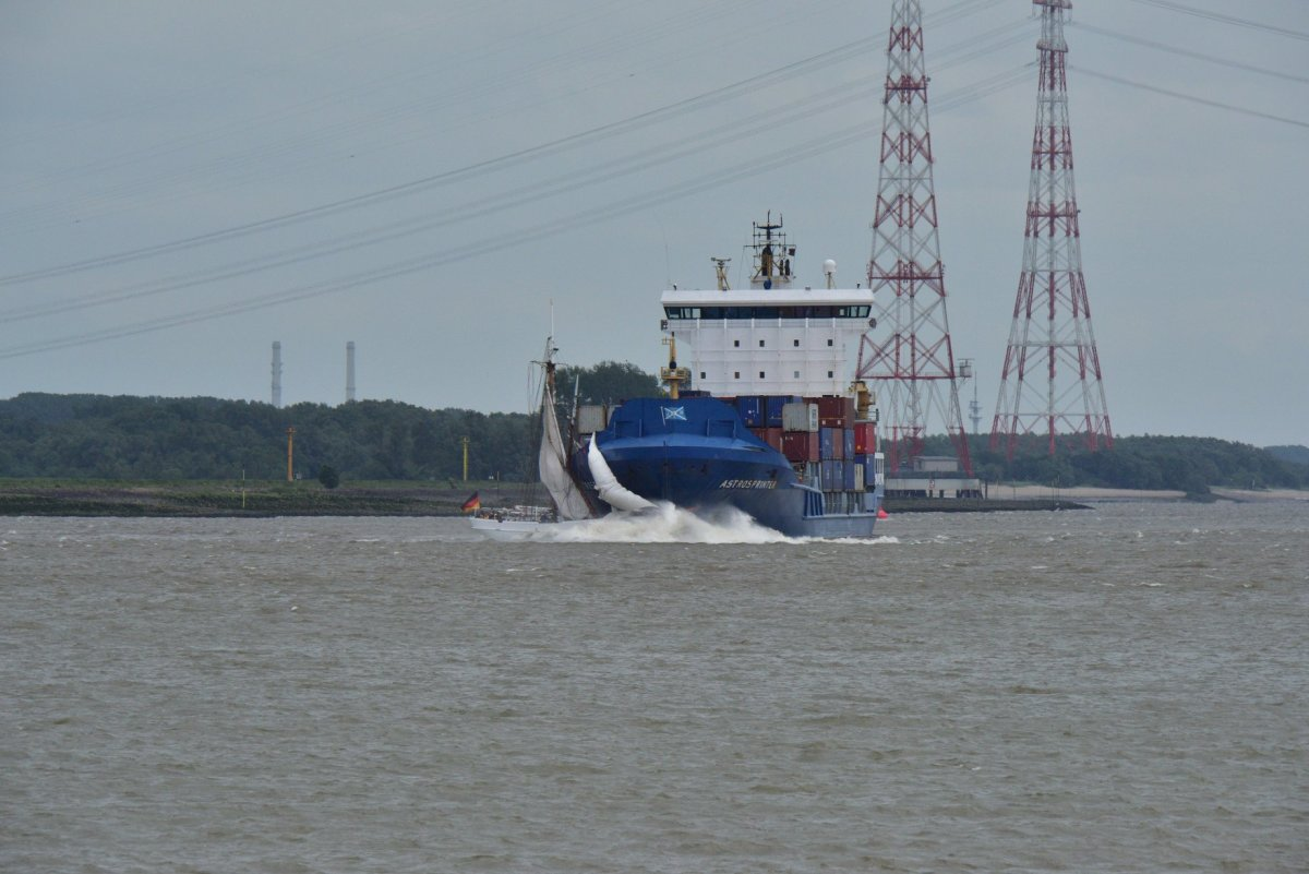 Cypriot container ship Astrosprinter collides with historic schooner No. 5 Elbe on the Elbe River just outside of Hamburg, Germany.